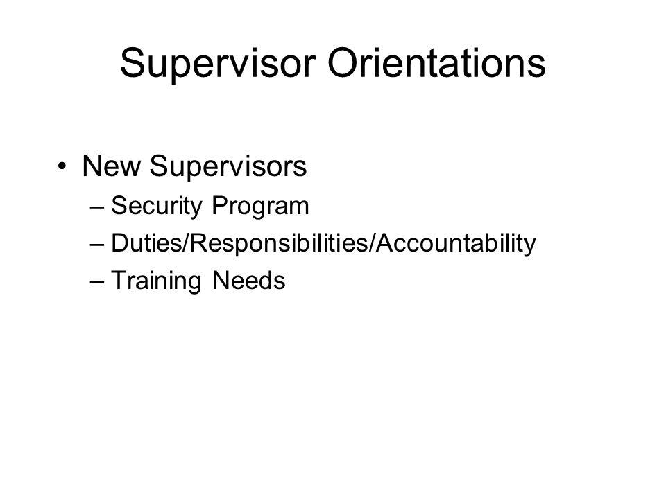 Supervisor Orientations