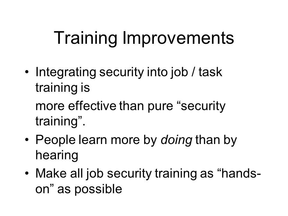 Training Improvements