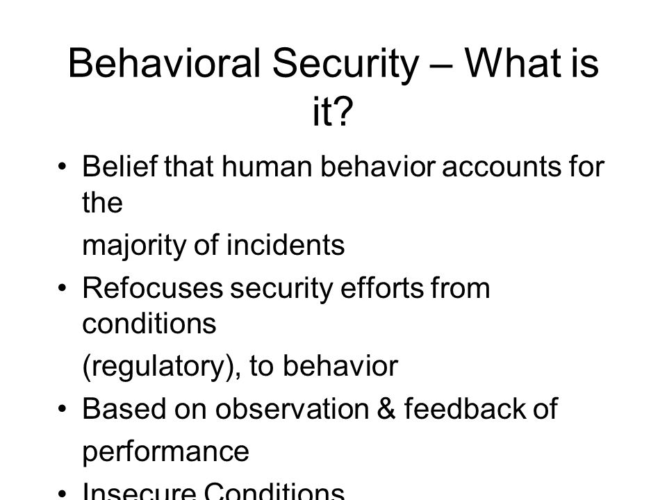 Behavioral Security – What is it