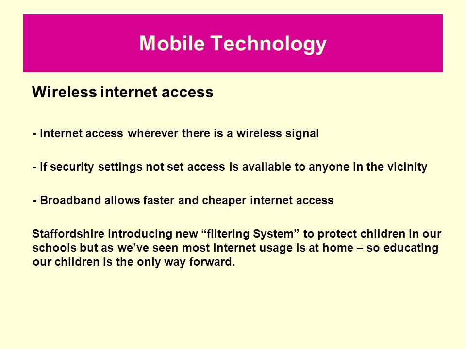 Mobile Technology Wireless internet access