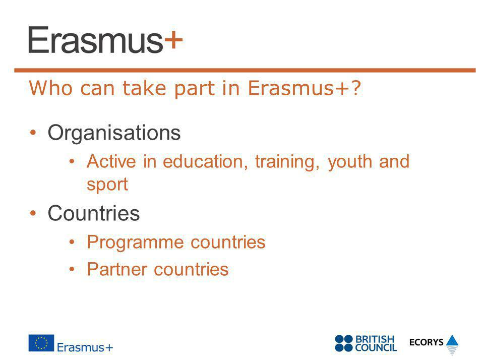 Who can take part in Erasmus+
