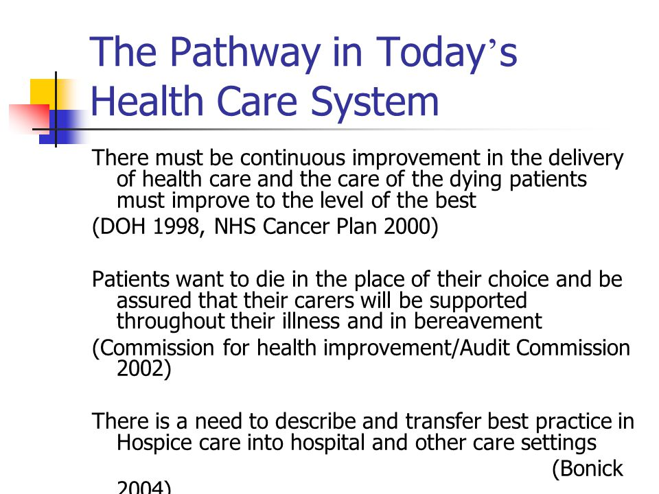 The Pathway in Today's Health Care System