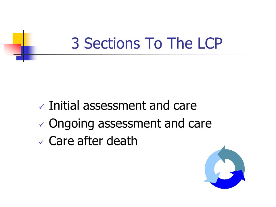 3 Sections To The LCP Initial assessment and care