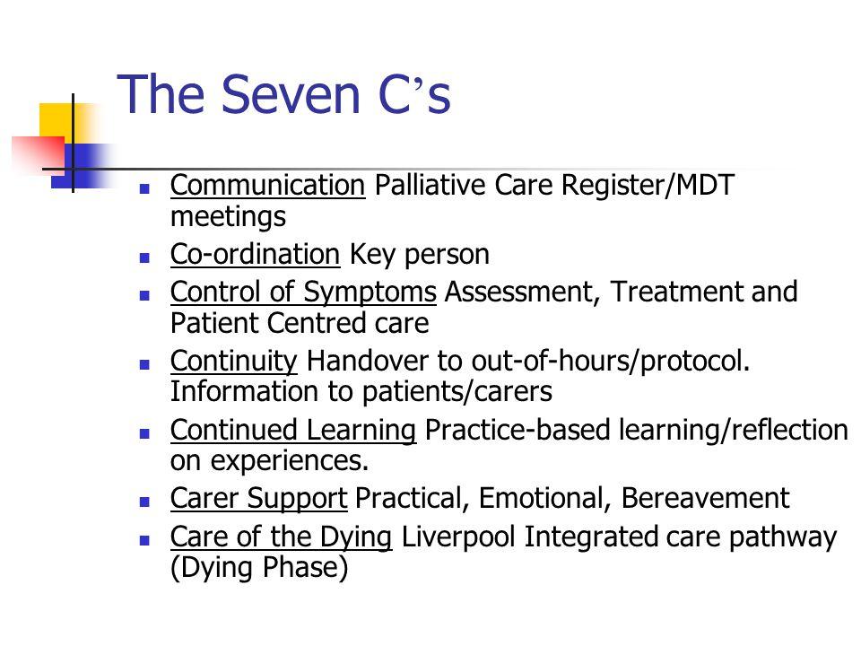 The Seven C's Communication Palliative Care Register/MDT meetings