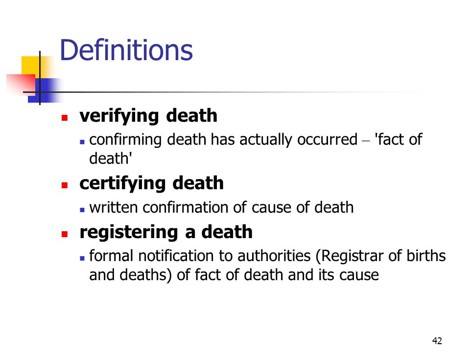 Definitions verifying death certifying death registering a death