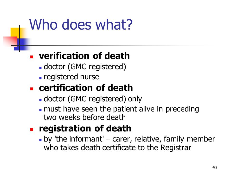 Who does what verification of death certification of death
