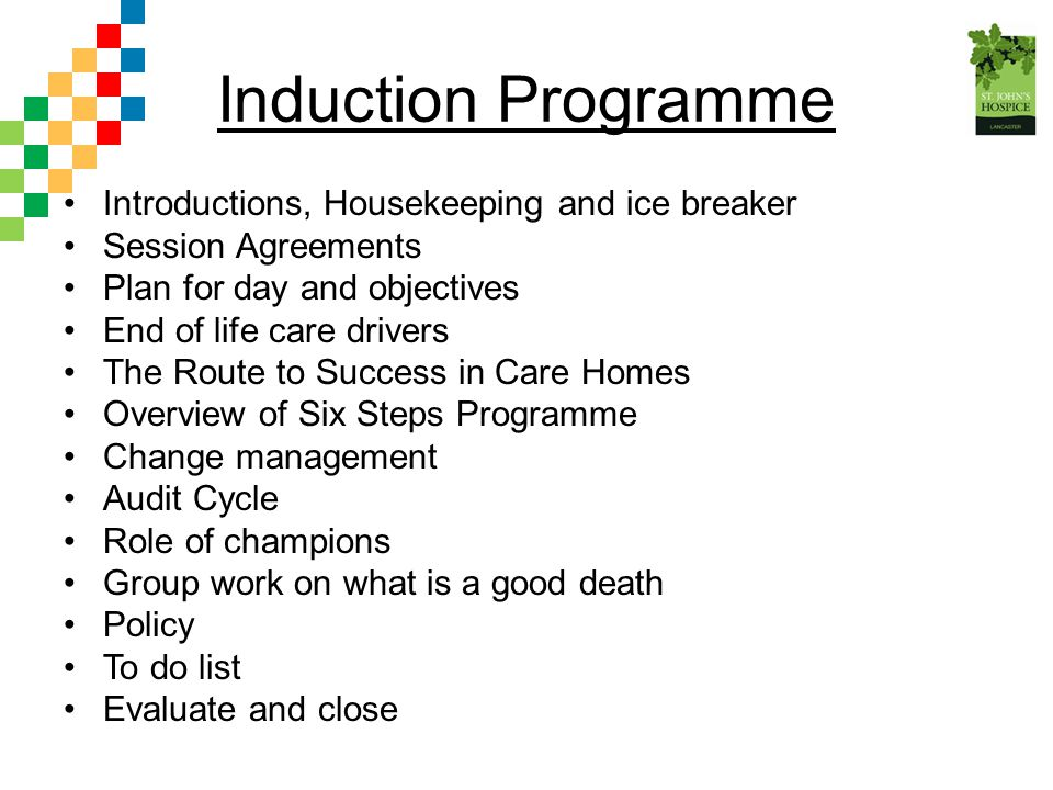 Induction Programme Introductions, Housekeeping and ice breaker