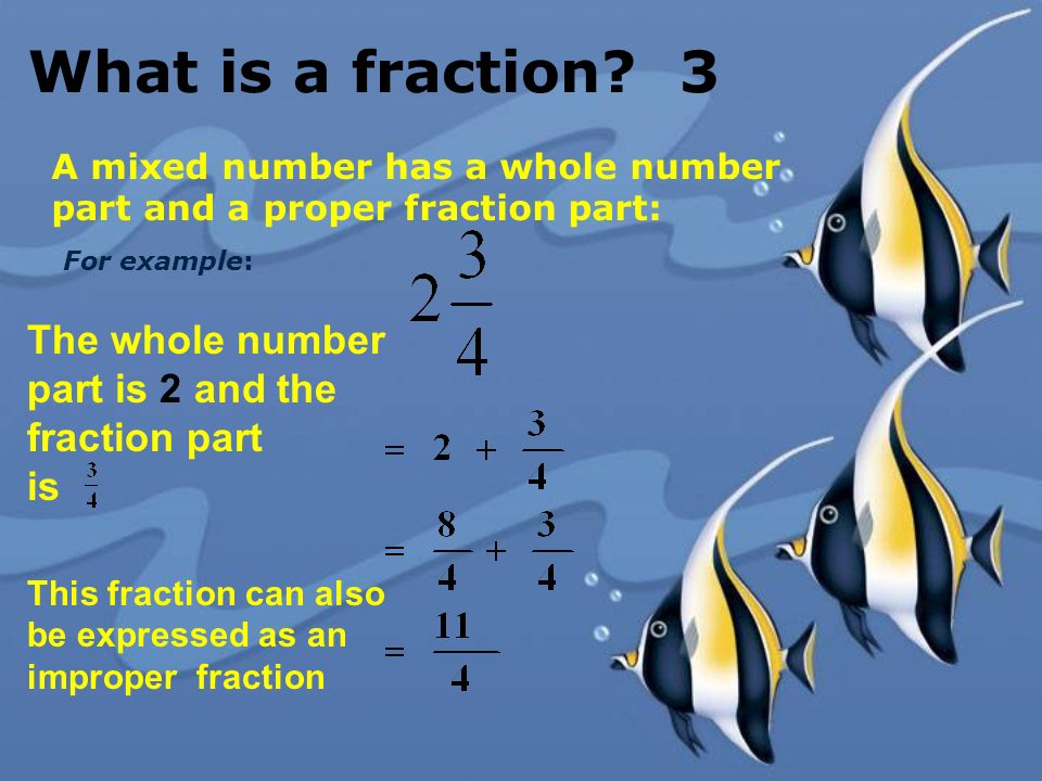 What is a fraction 3 The whole number part is 2 and the fraction part
