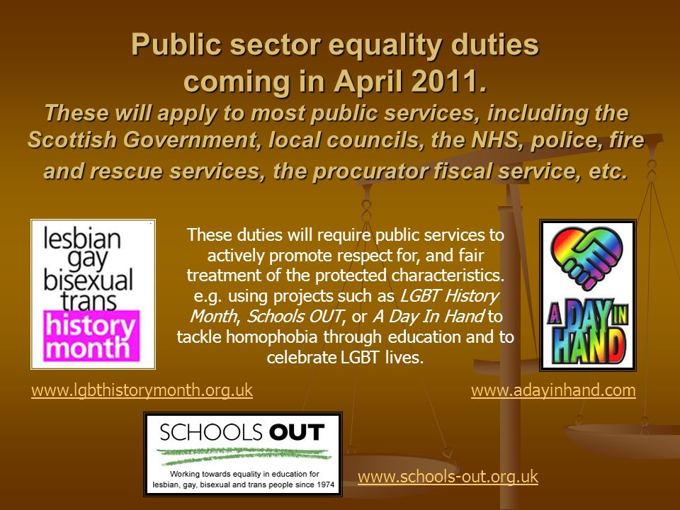 Public sector equality duties coming in April 2011