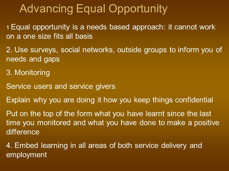Advancing Equal Opportunity