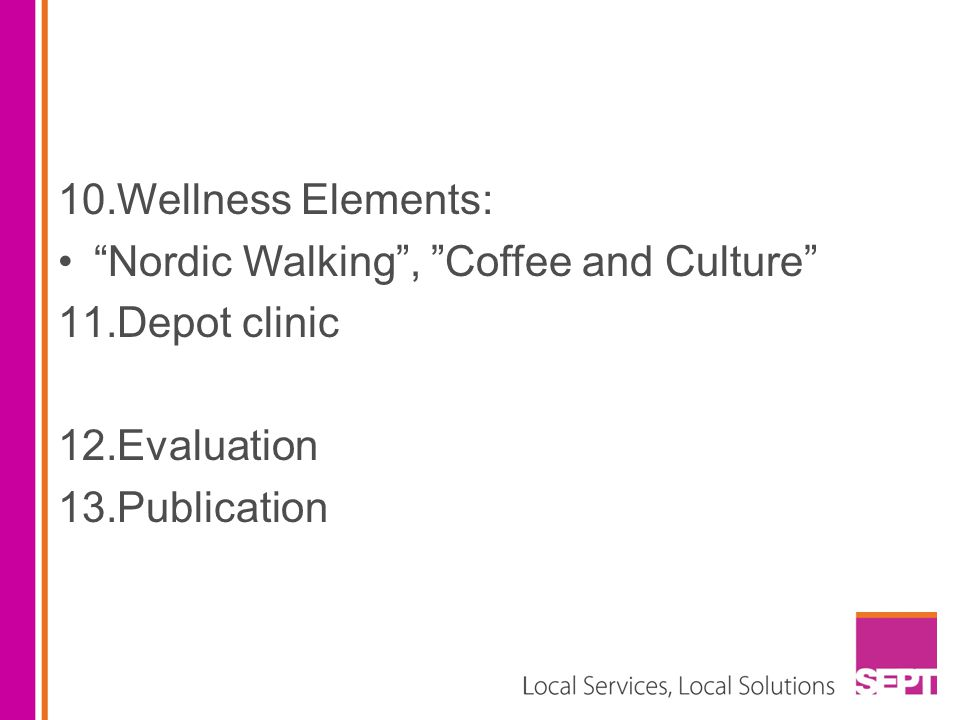Wellness Elements: Nordic Walking , Coffee and Culture Depot clinic Evaluation Publication