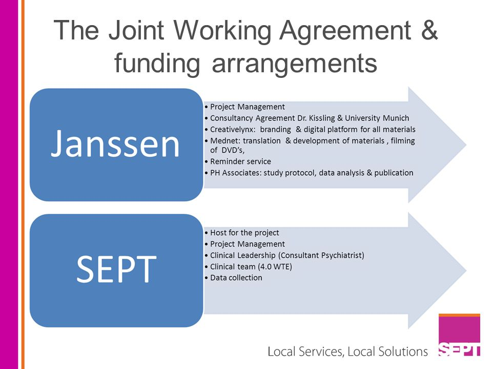 The Joint Working Agreement & funding arrangements