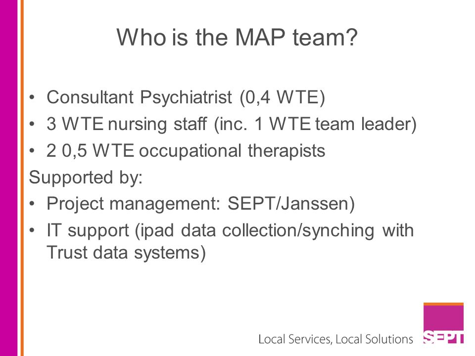 Who is the MAP team Consultant Psychiatrist (0,4 WTE)