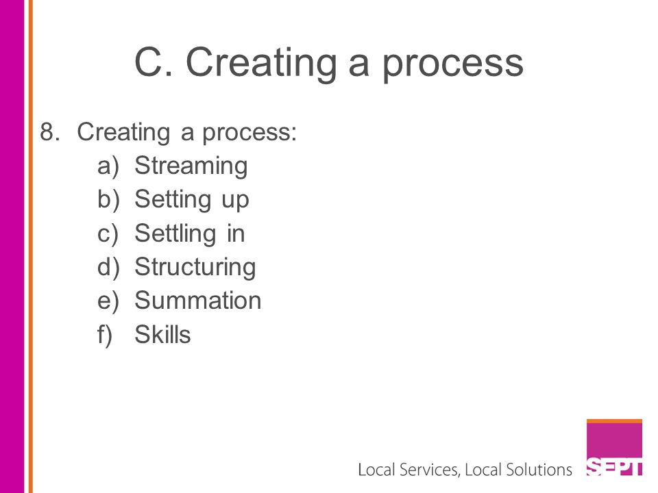 C. Creating a process Creating a process: Streaming Setting up