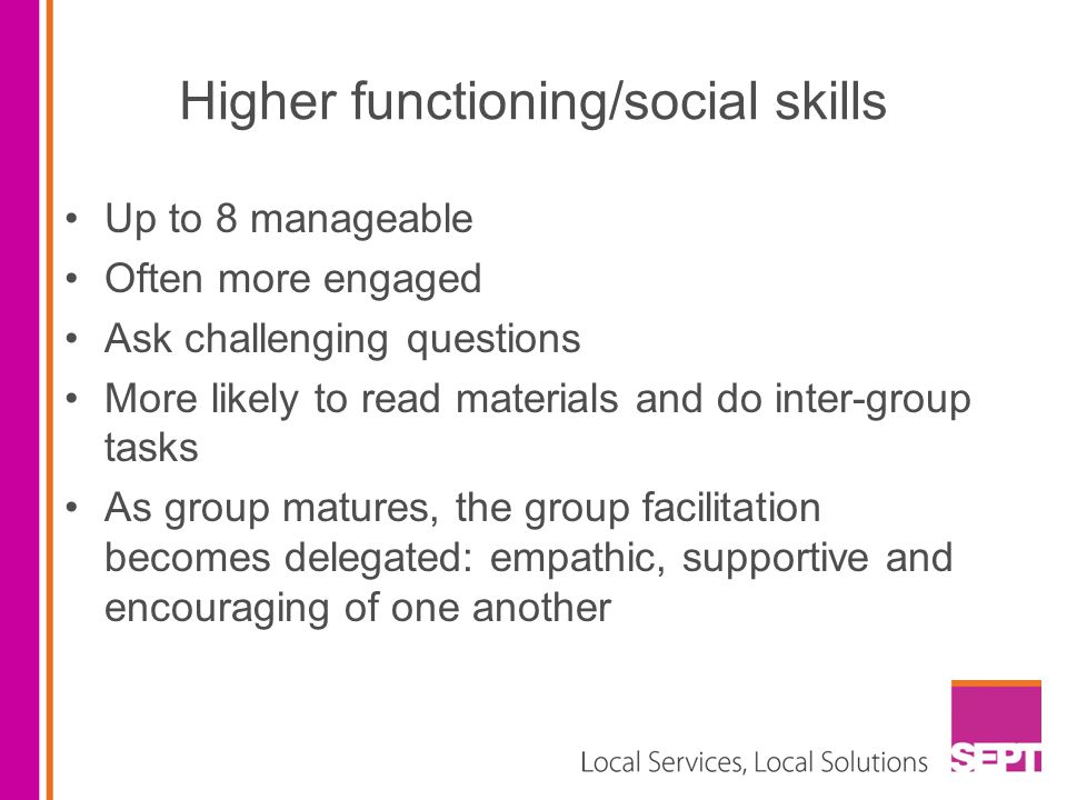 Higher functioning/social skills