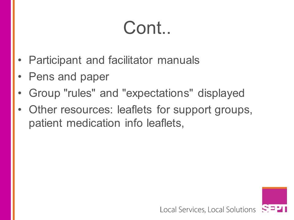 Cont.. Participant and facilitator manuals Pens and paper