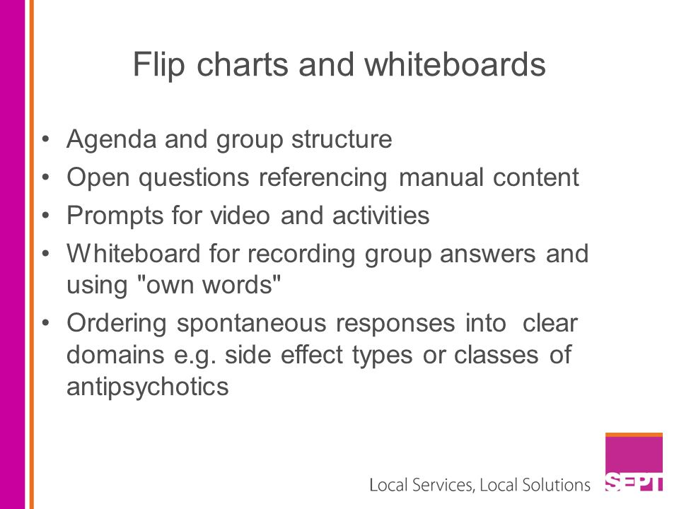 Flip charts and whiteboards