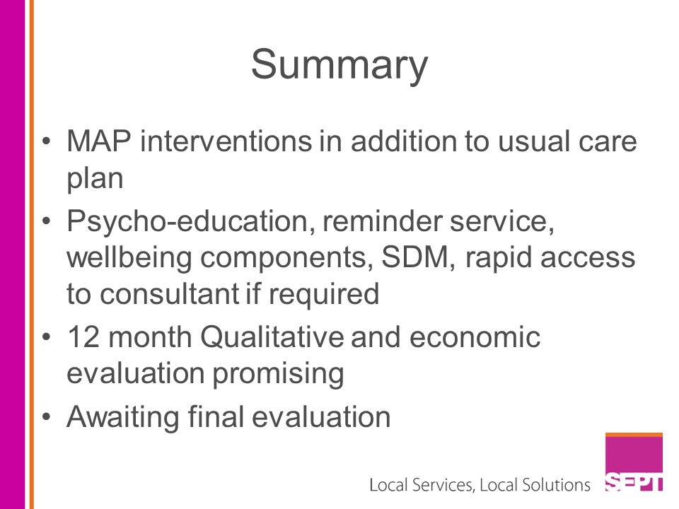 Summary MAP interventions in addition to usual care plan