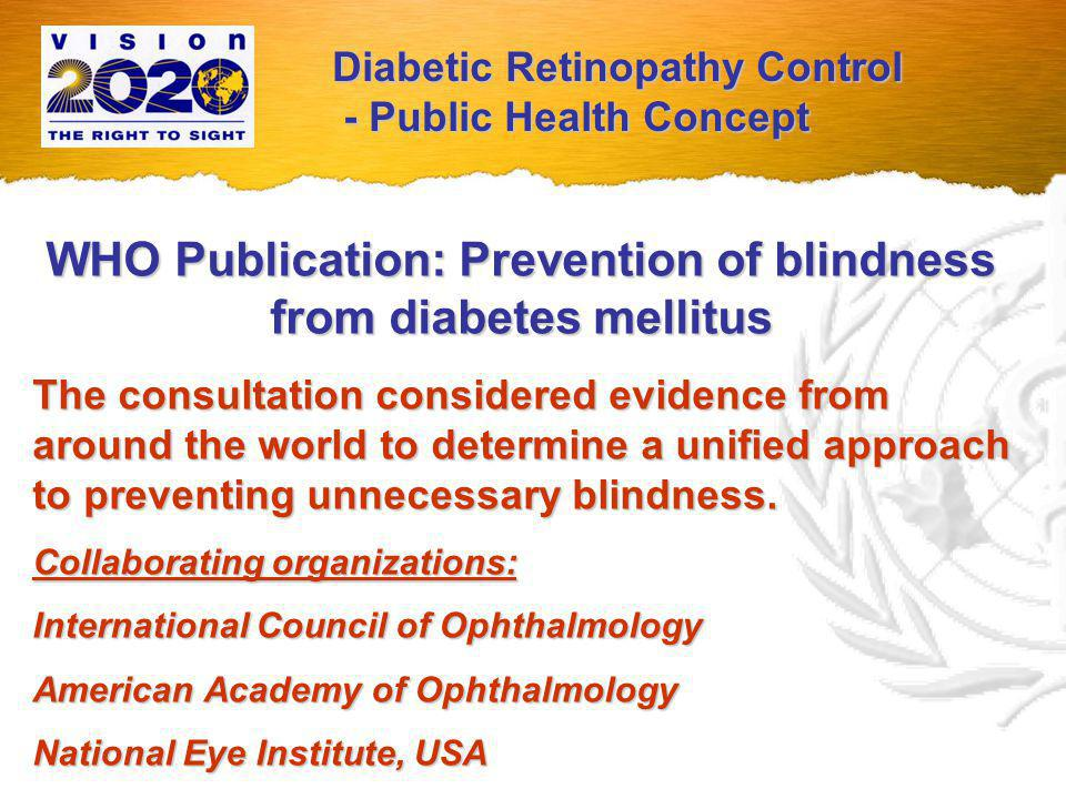 WHO Publication: Prevention of blindness from diabetes mellitus