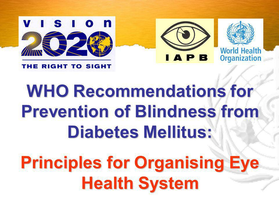 Principles for Organising Eye Health System
