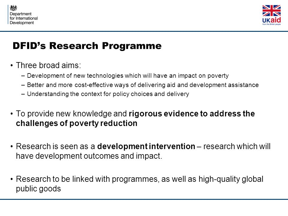 DFID's Research Programme