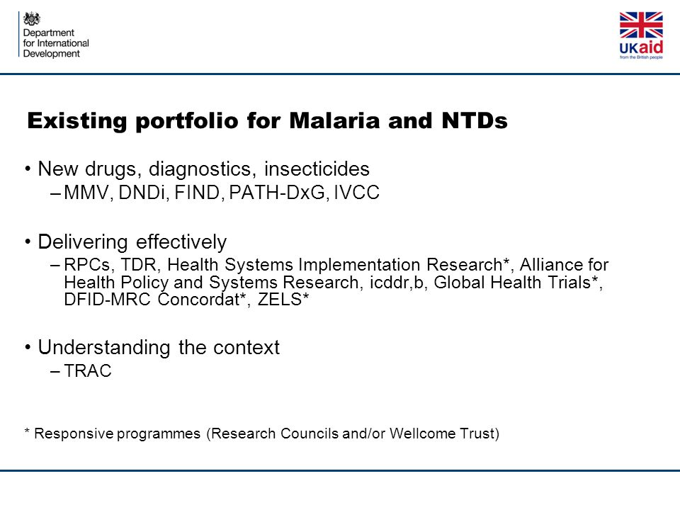 Existing portfolio for Malaria and NTDs