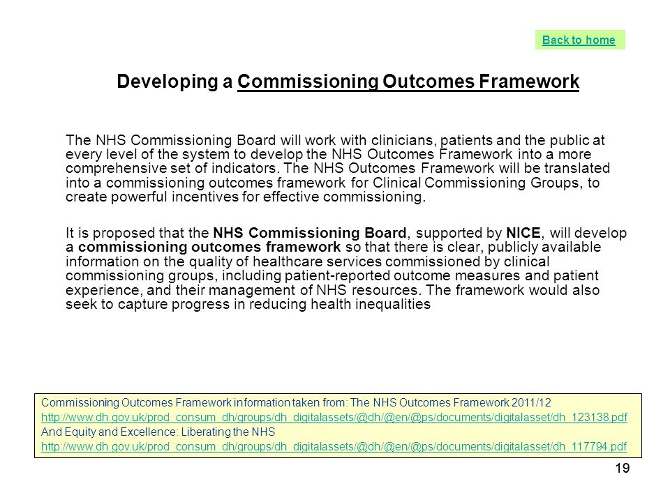 Developing a Commissioning Outcomes Framework