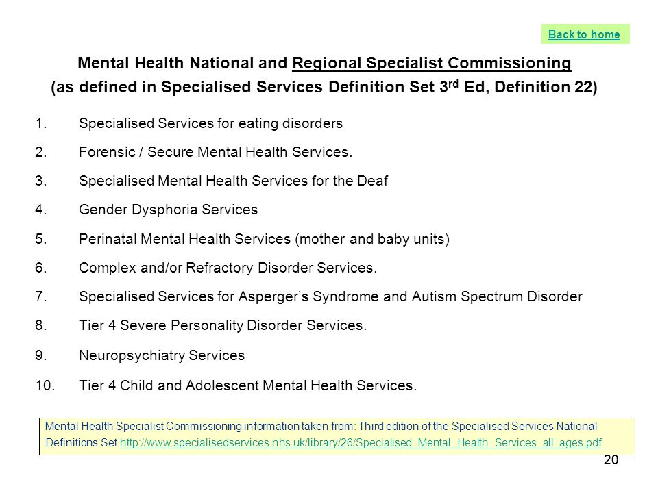 Mental Health National and Regional Specialist Commissioning