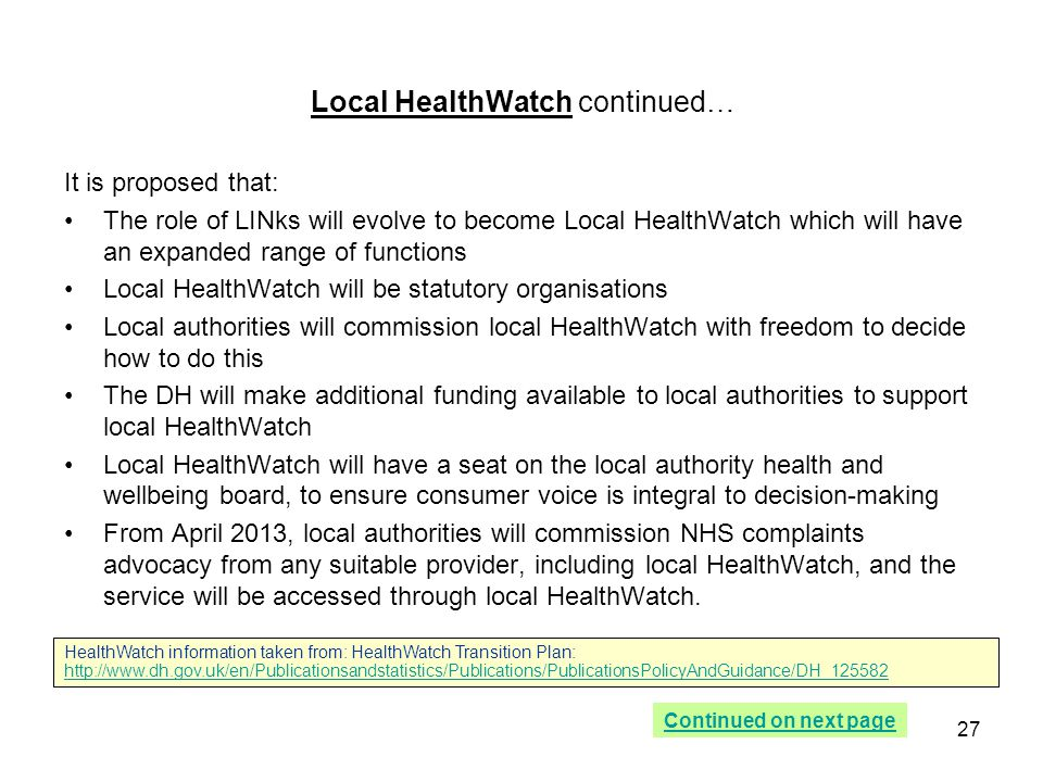 Local HealthWatch continued…