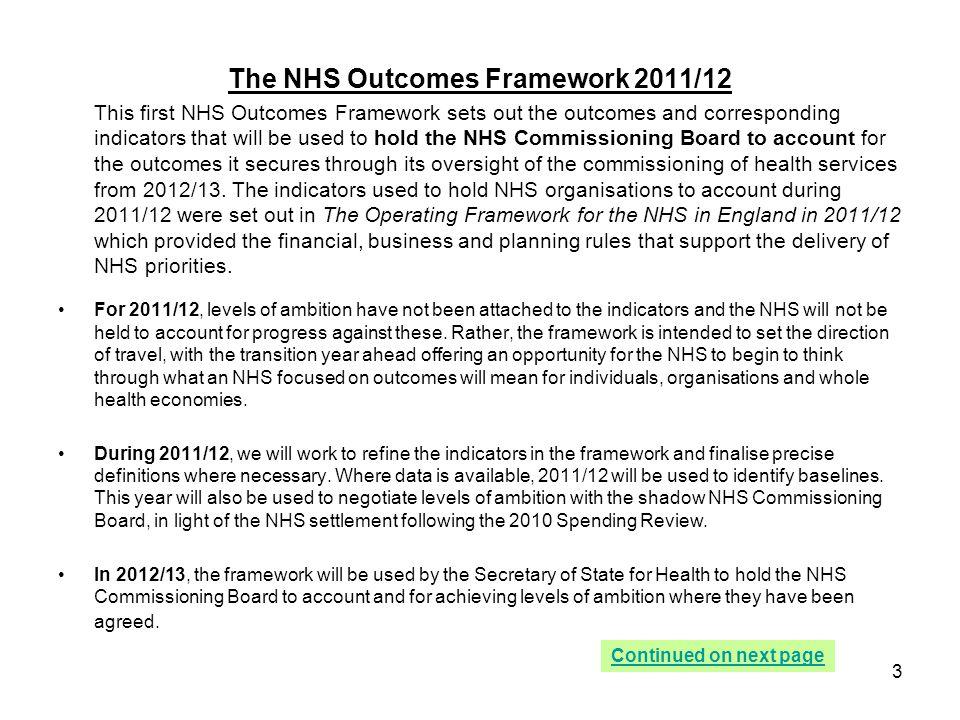 The NHS Outcomes Framework 2011/12