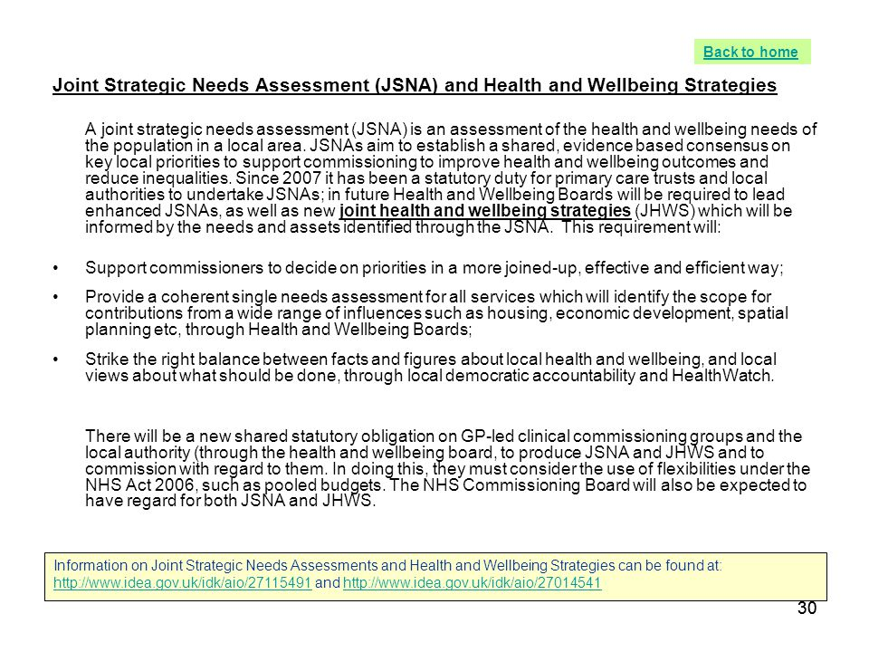 Back to home Joint Strategic Needs Assessment (JSNA) and Health and Wellbeing Strategies.