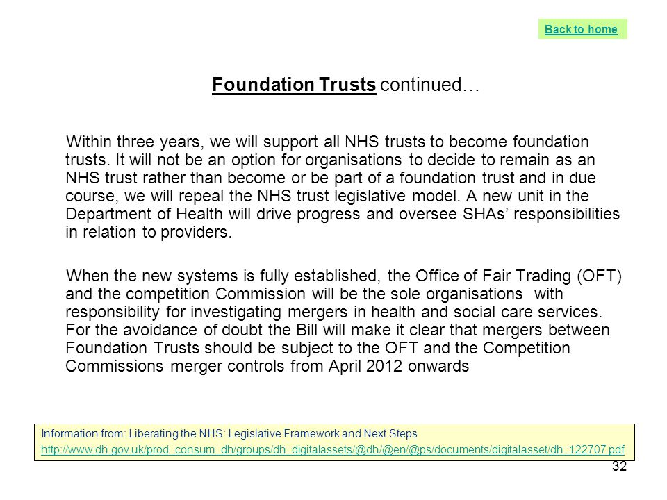 Foundation Trusts continued…