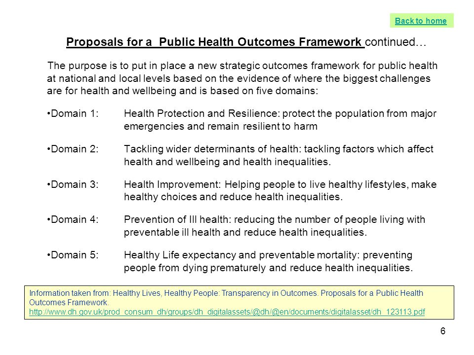 Proposals for a Public Health Outcomes Framework continued…