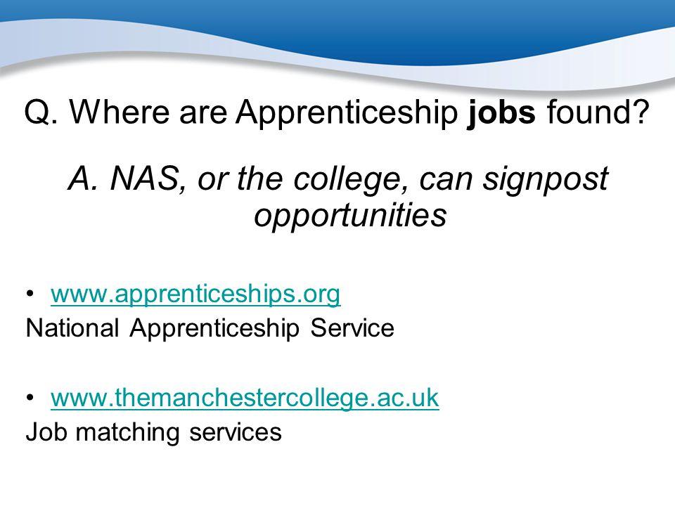 Q. Where are Apprenticeship jobs found
