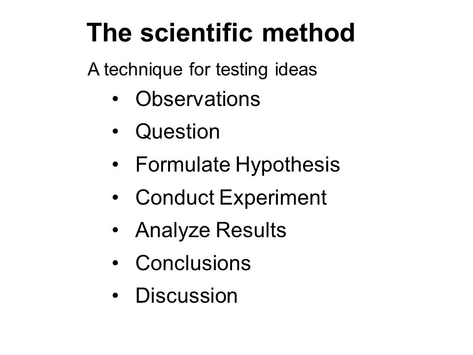 The scientific method Observations Question Formulate Hypothesis