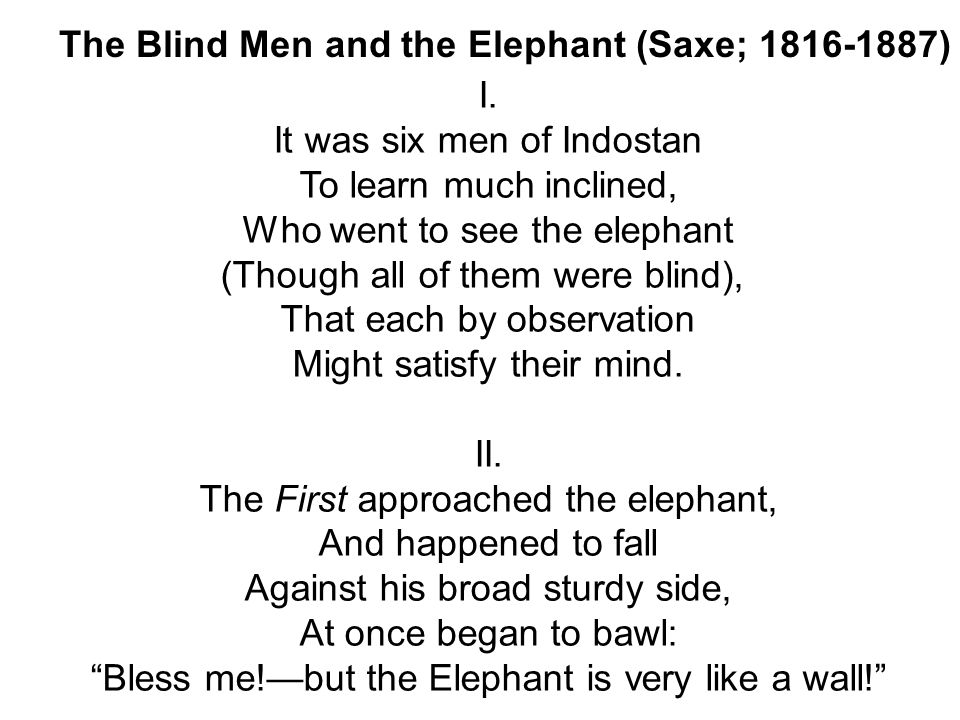 The Blind Men and the Elephant (Saxe; ) I.