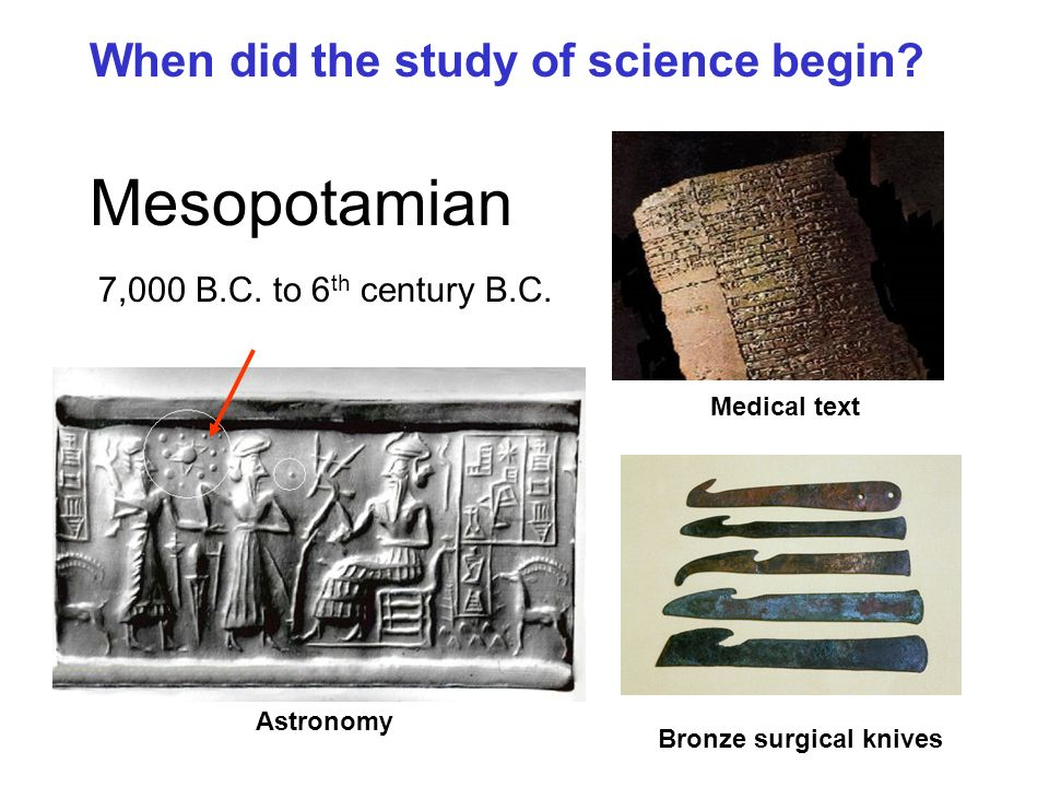 Mesopotamian When did the study of science begin