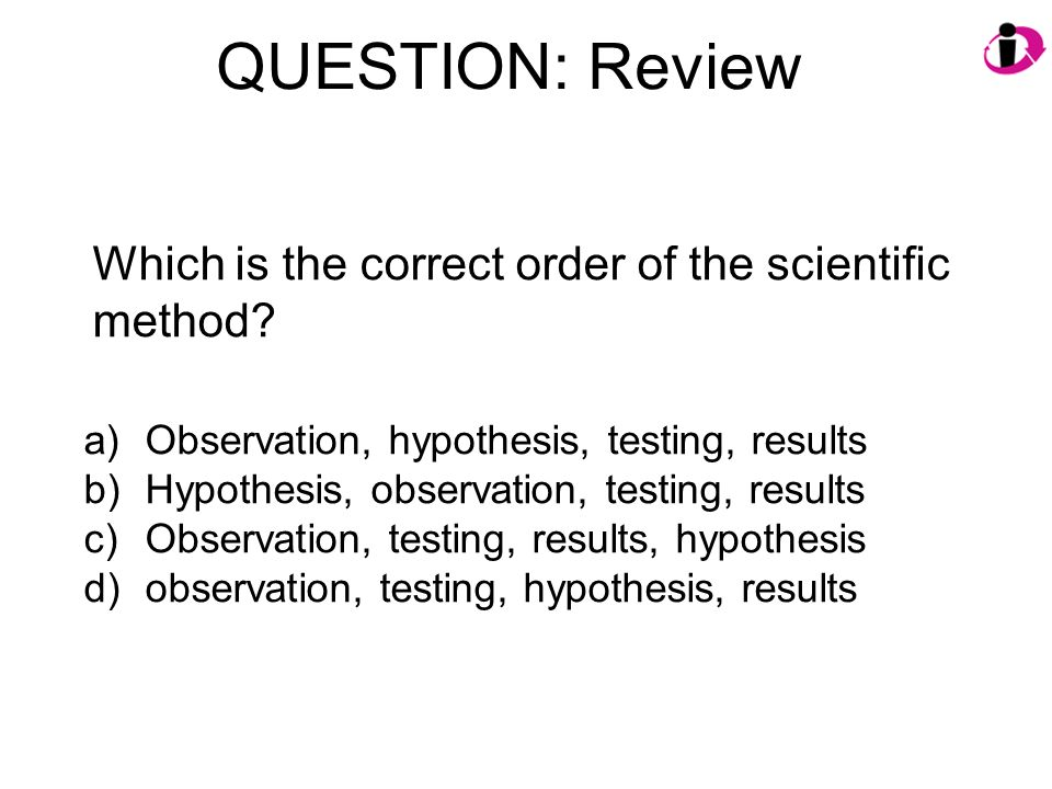 QUESTION: Review Which is the correct order of the scientific method