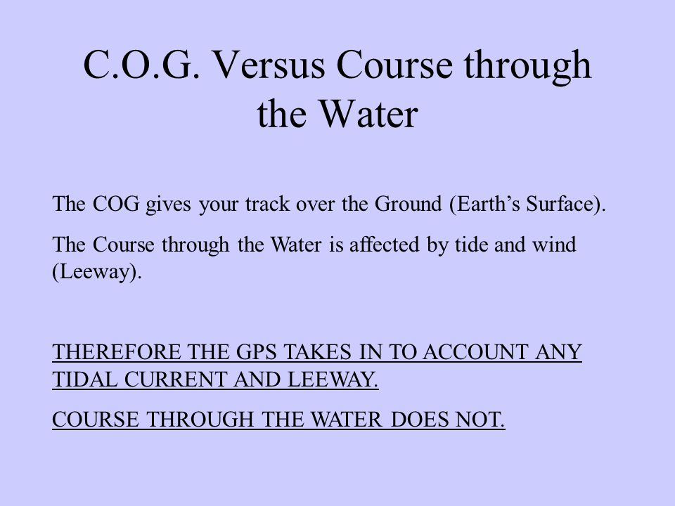 C.O.G. Versus Course through the Water