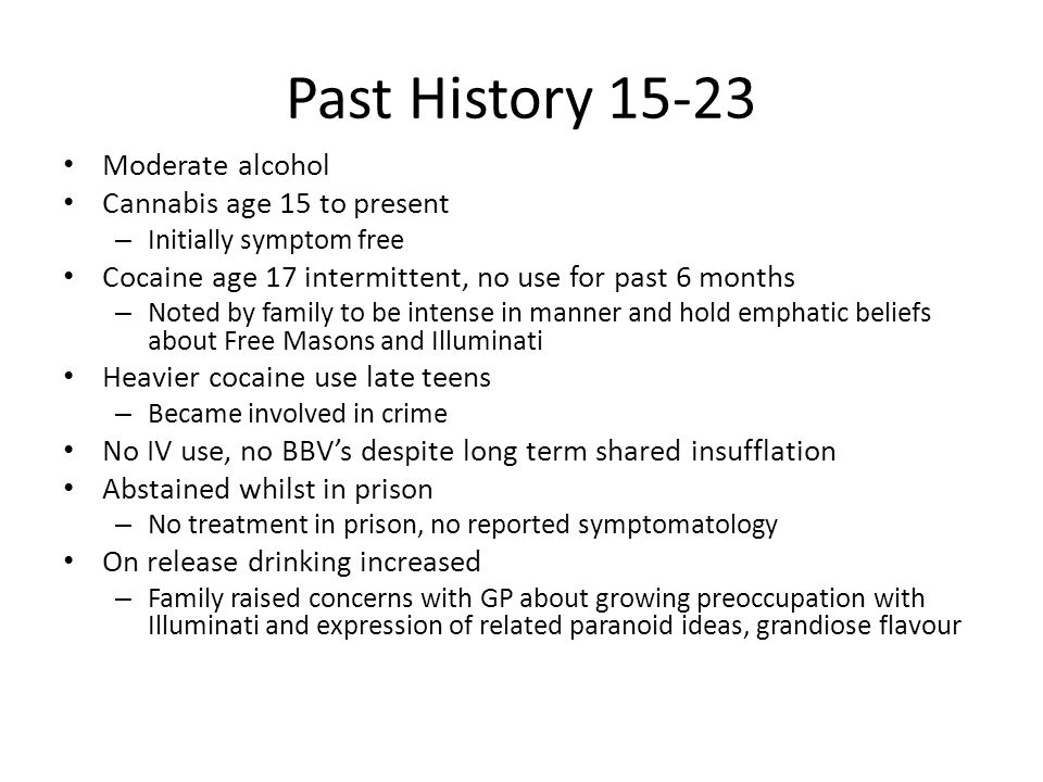 Past History 15-23 Moderate alcohol Cannabis age 15 to present