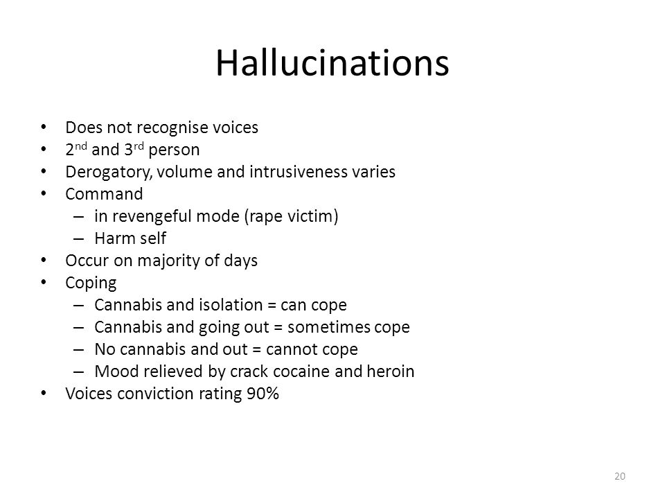 Hallucinations Does not recognise voices 2nd and 3rd person