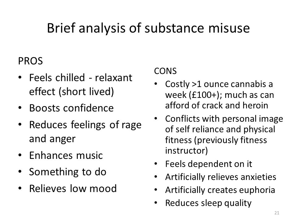 Brief analysis of substance misuse