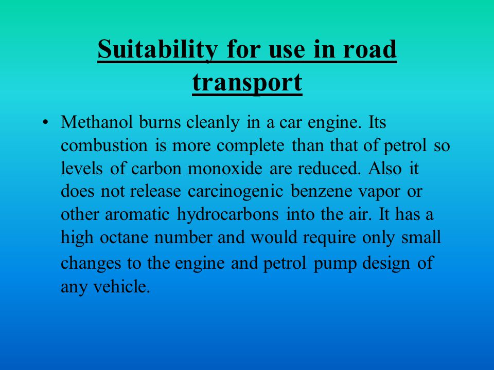 Suitability for use in road transport