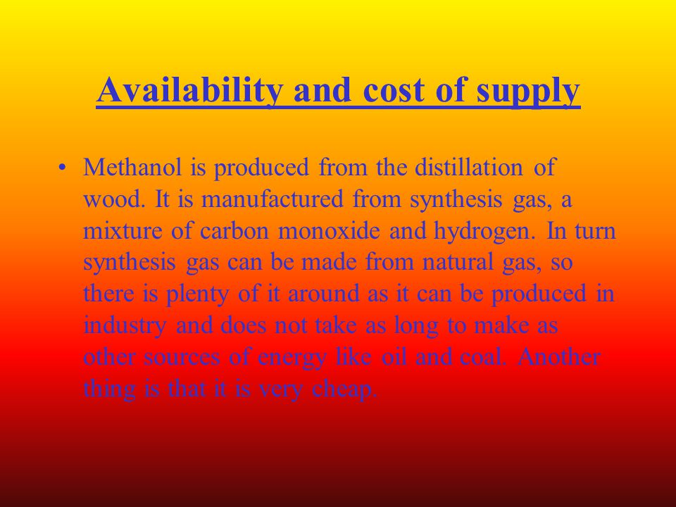 Availability and cost of supply