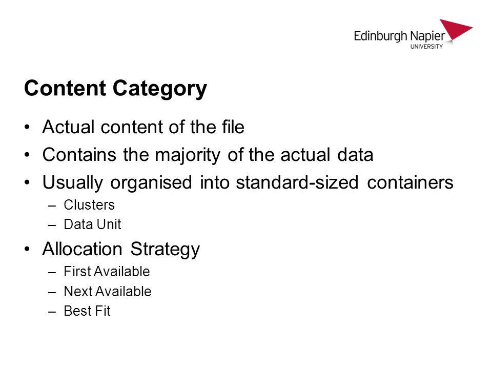 Content Category Actual content of the file