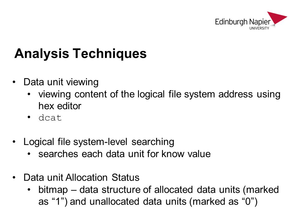 Analysis Techniques Data unit viewing