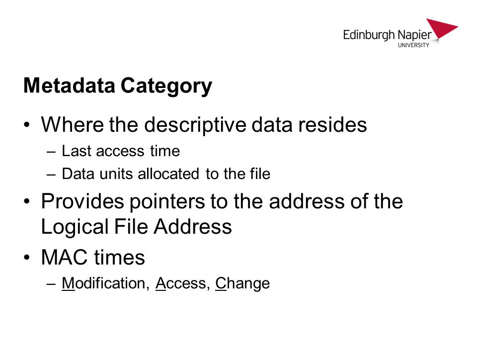 Where the descriptive data resides