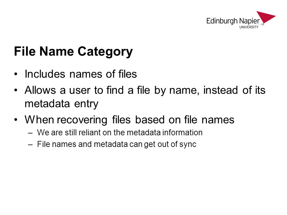 File Name Category Includes names of files