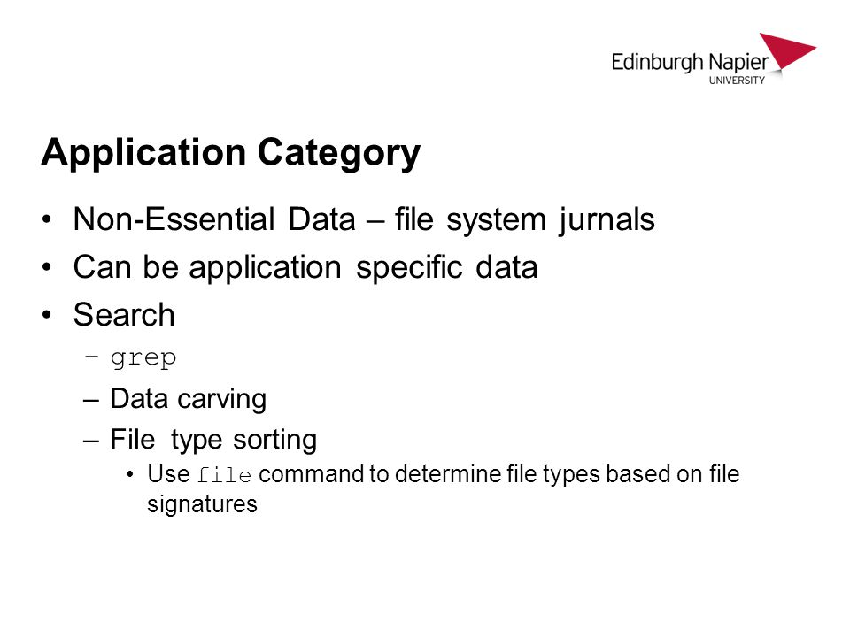 Application Category Non-Essential Data – file system jurnals