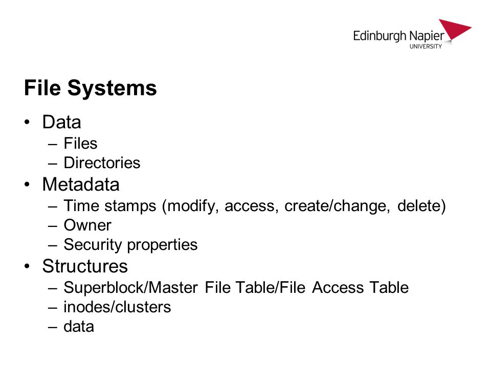 File Systems Data Metadata Structures Files Directories